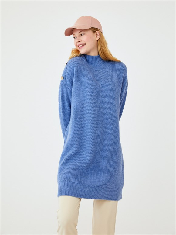 BUTTON DETAILED WOOL SWEATER BLUE
