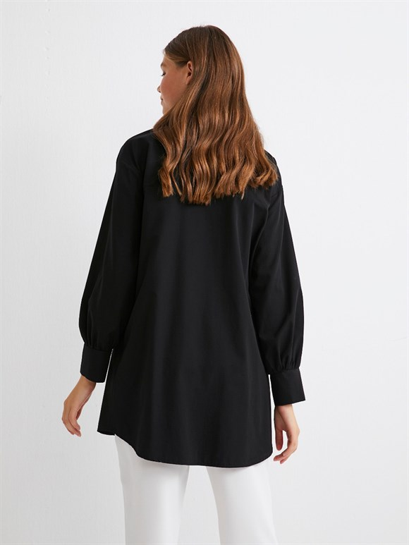 Tunic with Pearl Collar Black