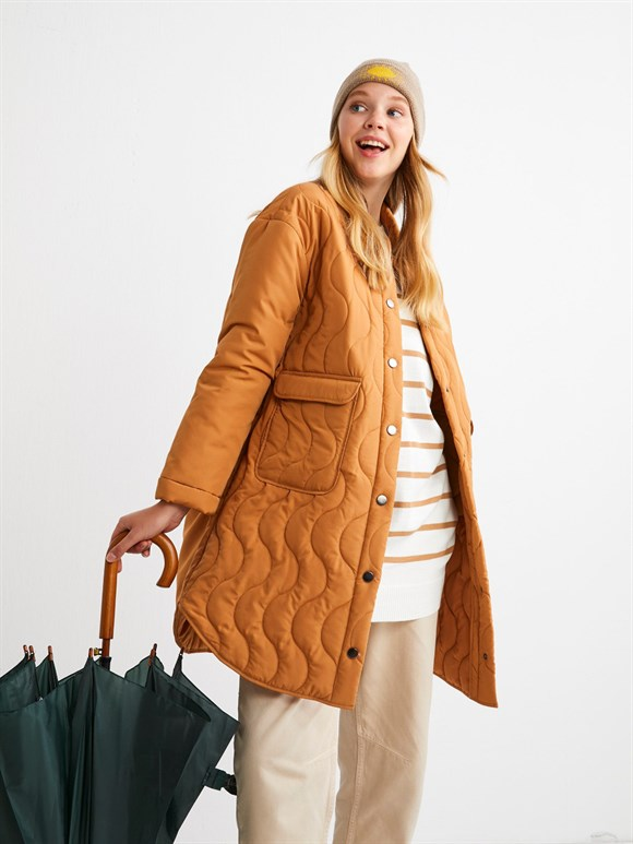 QUILTED COAT CAMEL