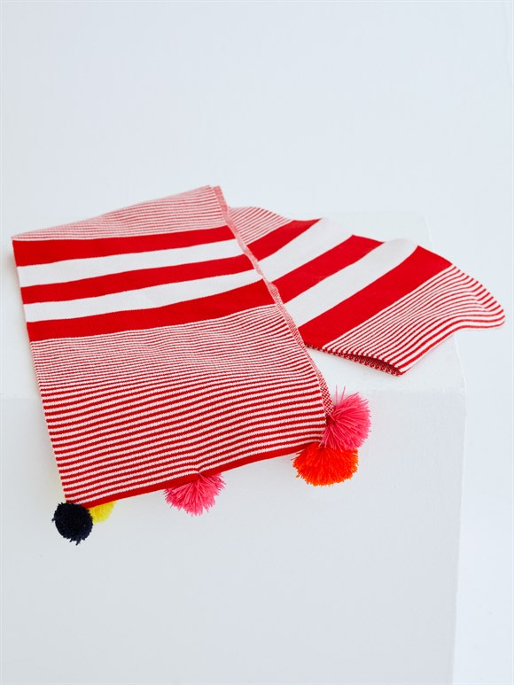 PONPON SCARF RED