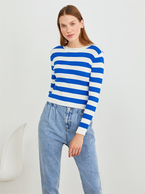 STRIPED BASİC KNITWEAR BLUE
