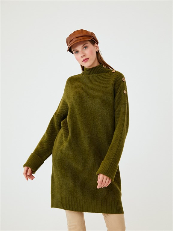 BUTTON DETAILED WOOL SWEATER GREEN