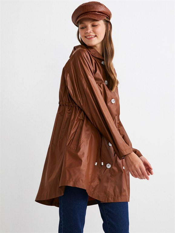 BUTTONED RAİNCOAT BROWN
