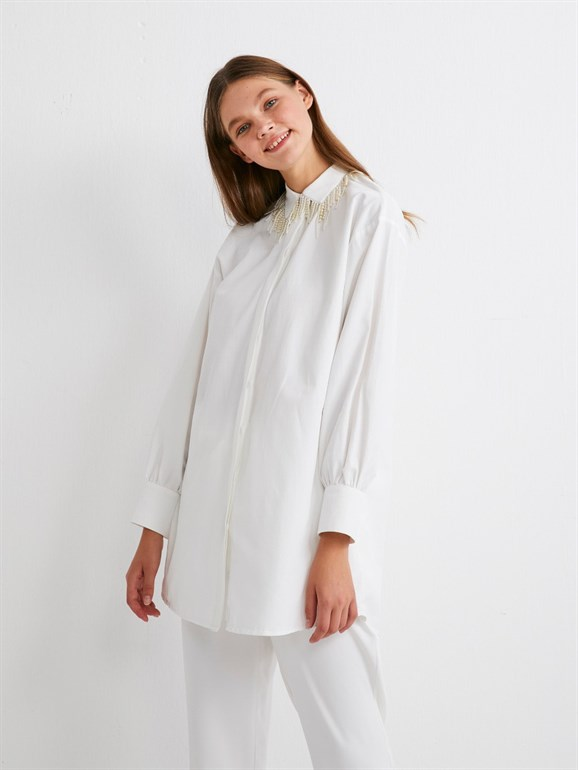 Tunic with Pearl Collar White