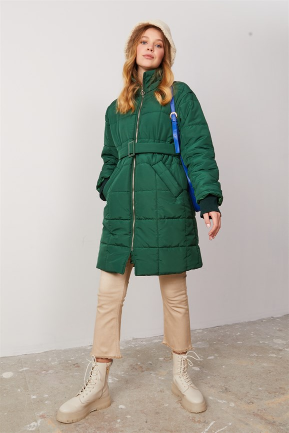 MARS QUILTED COAT GREEN