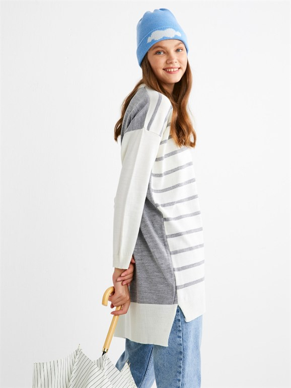 STRIPED KNİTWEAR GREY