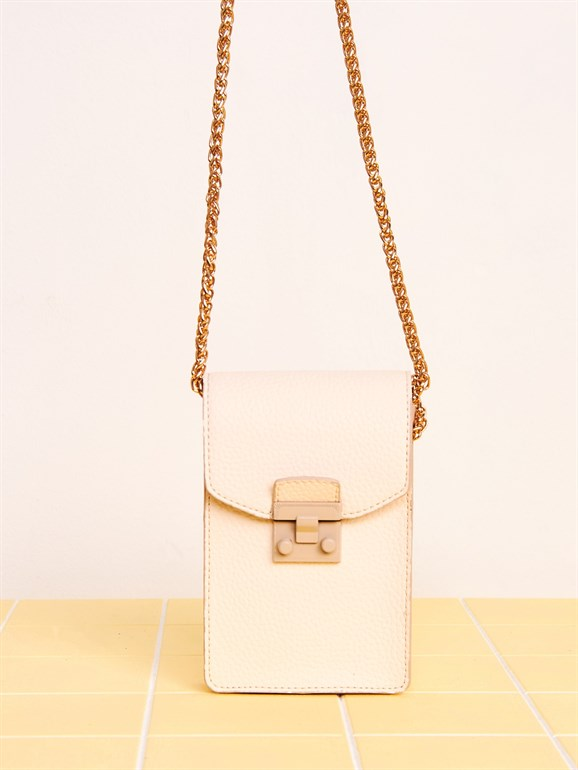 Summer Wallet Bag with Chain White