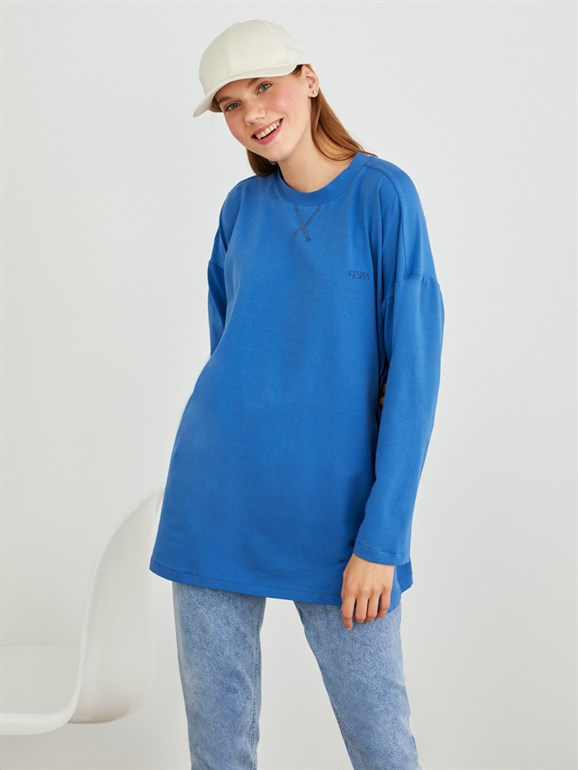 LONG SLEEVE BASIC TUNIC BLUE