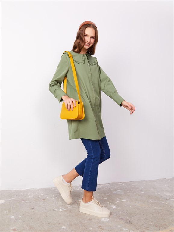 Poplin tunic with collar green